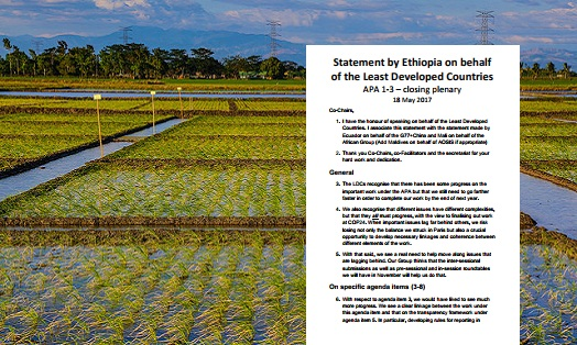 Statement by Ethiopia on behalf of the Least Developed Countries Group for the closing of the Ad Hoc Working Group on the Paris Agreement (APA 1-3)