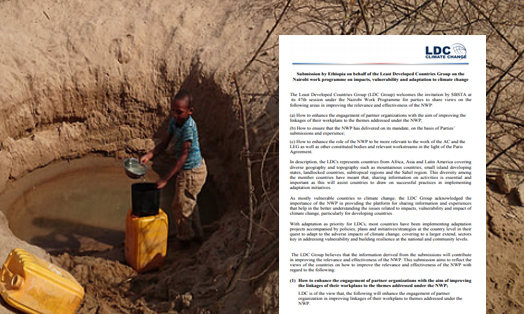 Submission by Ethiopia on behalf of the Least Developed Countries Group on Nairobi work programme on impacts, vulnerability and adaptation to climate change